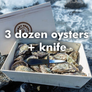 3 dozen oysters and knife