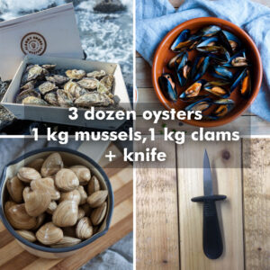 18 oysters 1kg mussels 1kg clams knife
